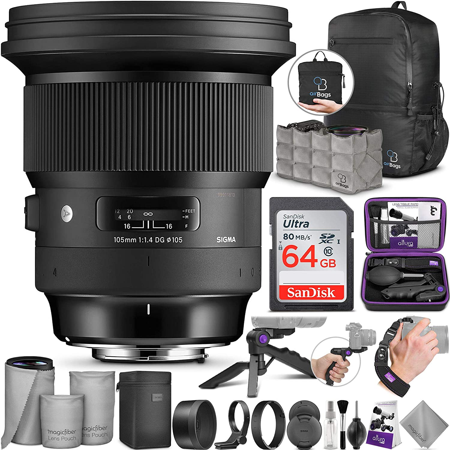 Sigma 105mm f/1.4 DG HSM Art Lens for Sony E with Altura Photo Advanced Accessory and Travel Bundle