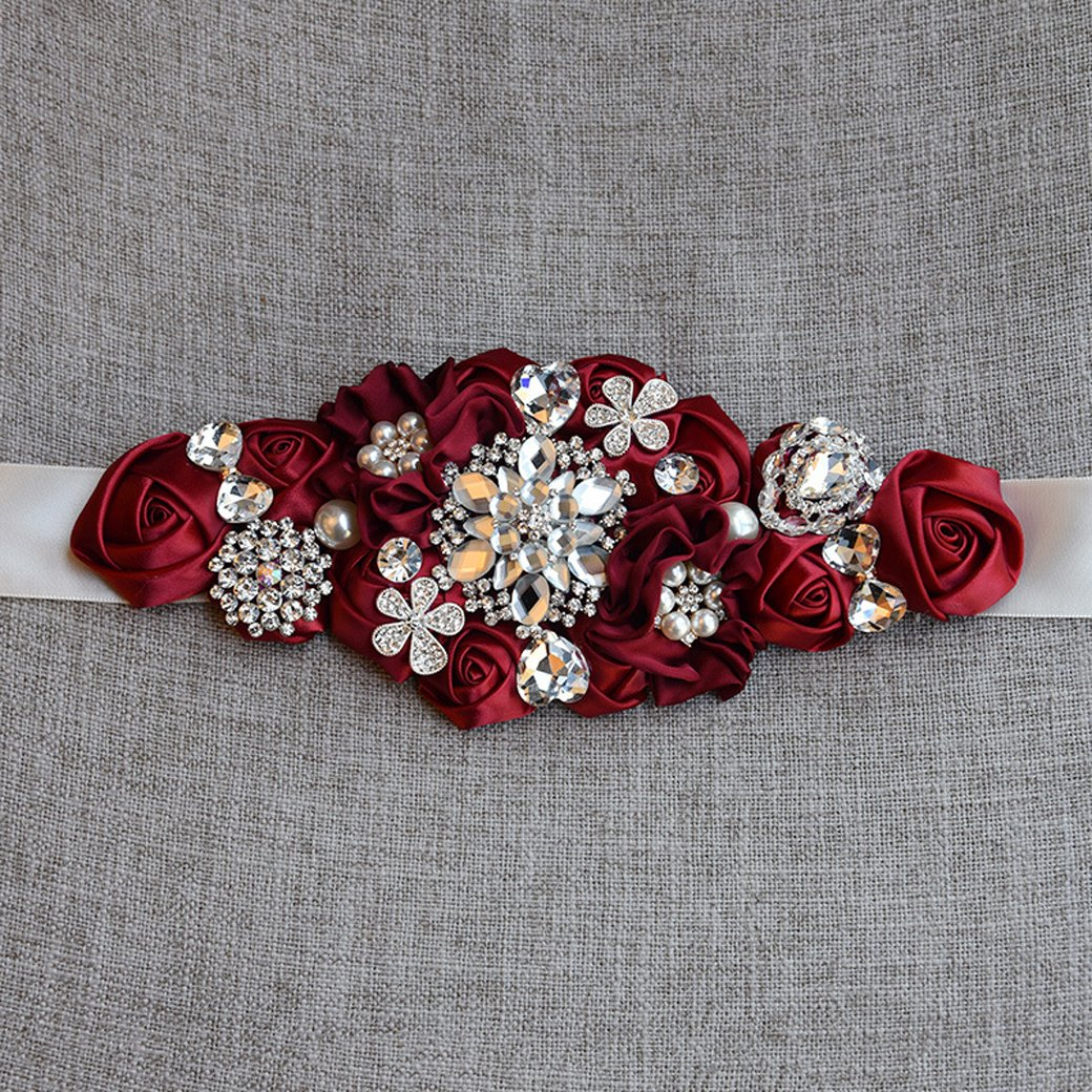 Lujuny Crystal Flower Bridal Maternity Sash Belt Floral Ribbon