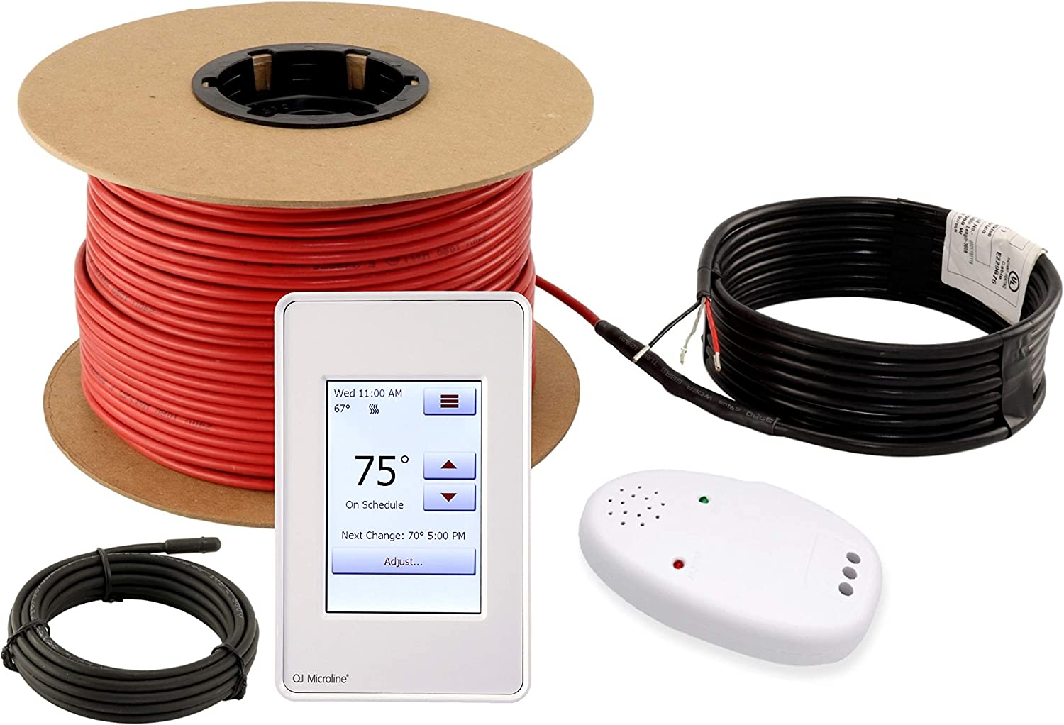 LuxHeat Floor Heating Cable Set, 50 Sqft 120v Electric Radiant Floor Heating System Under Tile, Laminate. Underfloor Heating Kit Includes Cable, Alarm, OJ Microline Programmable Thermostat with GFCI