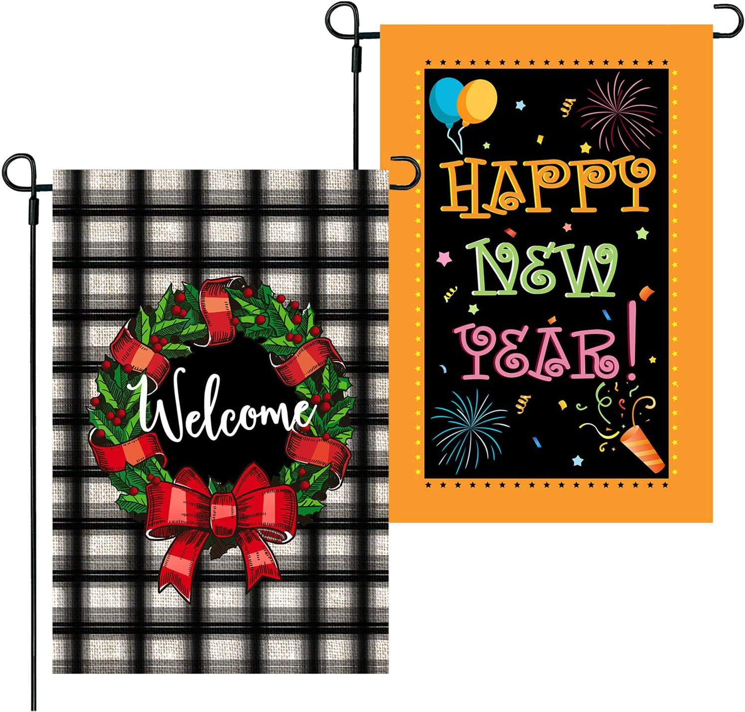CAVLA 2Pcs Wreath Christmas Garden Flag Happy New Year Yard Flag 12 x 18 Inch Double Sided Buffalo Check Plaid Rustic Flag Christmas Winter New Year Holiday Farmhouse Yard Outdoor Decoration