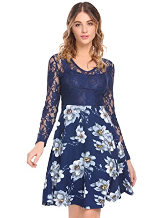 10ff5c6c6d Donkap Women A Line Cocktail Dress Empire Lace Fit and Flare Dress (Navy  Blue S
