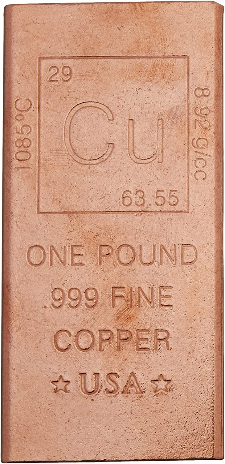 1 Pound Copper Bar Bullion Paperweight - 999 Pure Chemistry Element Design by Metallum Gifts 81Y%2B0M7t1JL