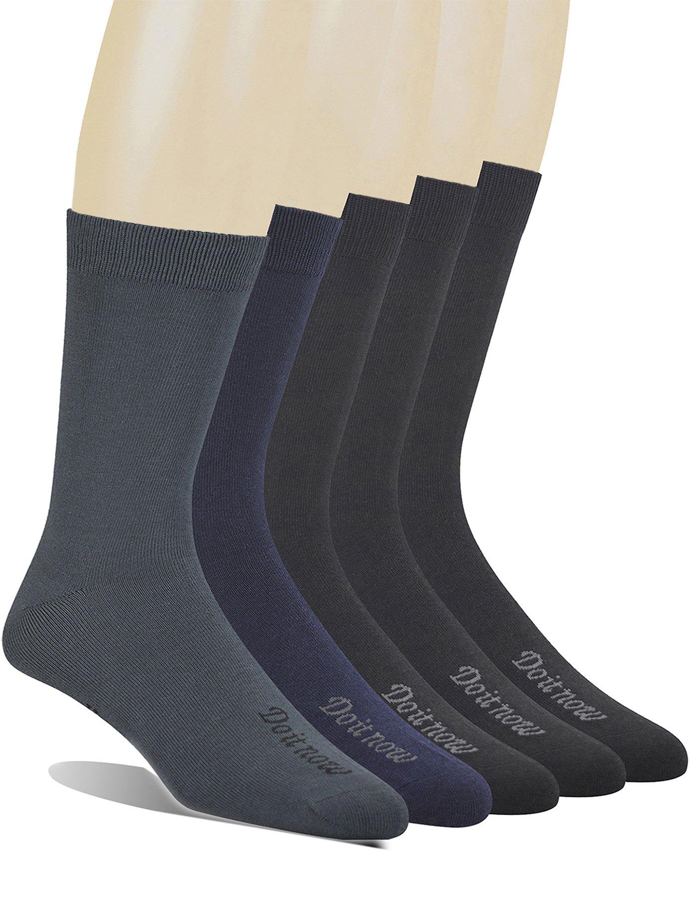 Yomandamor Men's 5 Pack Bamboo Mid-Calf Dress Socks,Size 10-13