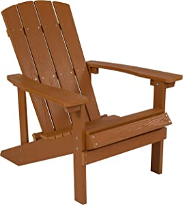 Flash Furniture Charlestown All-Weather Adirondack Chair in Teak Faux Wood
