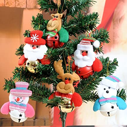 christmas bells ornaments for home christmas tree 6 pcs set christmas home decorations snowman - Amazon Christmas Tree Decorations