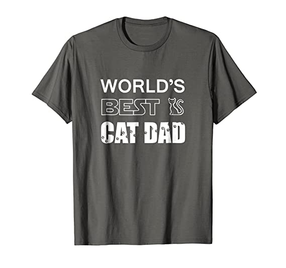 cab05648 Mens World's Best Cat Dad - Pet Lovers Father's Day Gift T-Shirt 2XL Asphalt