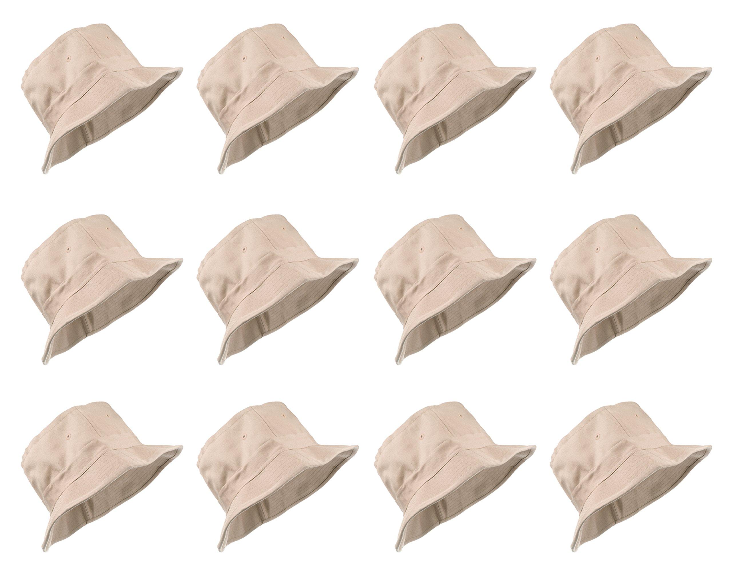 Enimay 12 Pack of Classic Style Bucket Hats Soild Colors Many Styles Khaki