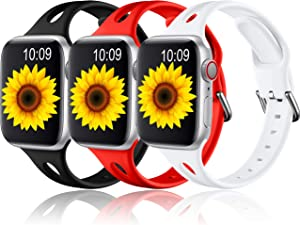 Getino Sport Band Compatible with Apple Watch 40mm 38mm iWatch Series 6 5 3 2 1 SE Bands, Soft Silicone Replacement Wrist Strap for Women Girls Men, 3 Pack, Bright Red, Black, White