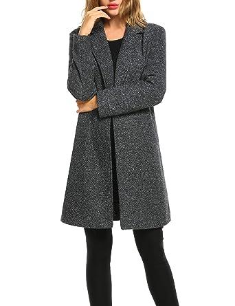 7b81a293bcd9 Zeagoo Long Trench Pea Cpat Women Lapel Winter Warm Classy Wool Coat Casual  Cardigan Long Abrigos