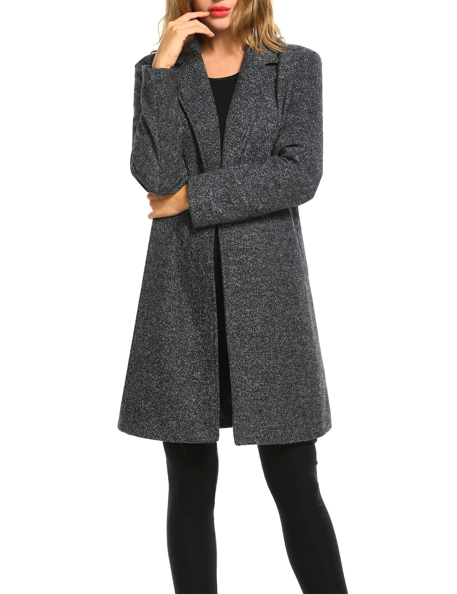 Zeagoo Women Long Trench Coat Single Breasted Wool Jacket Cardigan,Large,Black