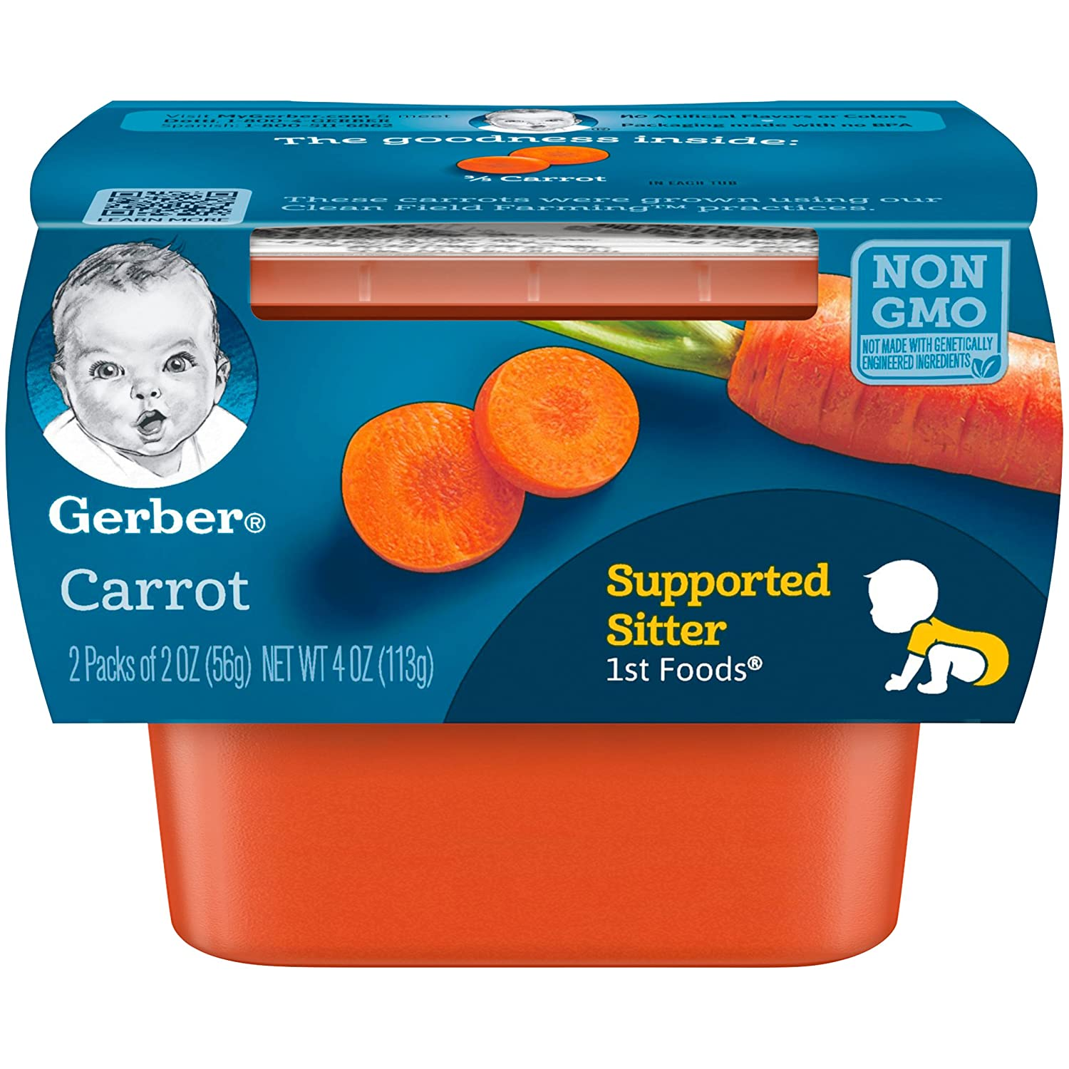 Gerber 1st Foods, Carrot Pureed Baby Food, 2 Ounce Tubs, 2 Ounce (Pack of 16)