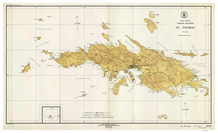 Amazon.com: Saint Thomas - 1946 Virgin Islands Topographical ...