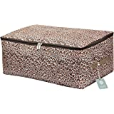 iwill CREATE PRO Clothes, Quilt, Underwear, Apparel, Garments Storage Organizer Box, Three-Open Zipper and Handles, Washable (Leopard print, L)