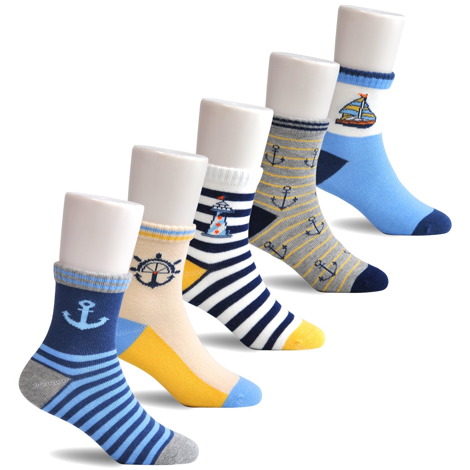 Epeius Kids Boys' 5 Pack Seamless Striped Crew Socks