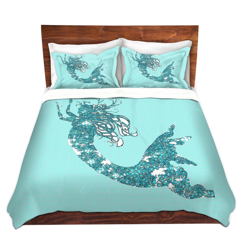 DiaNoche Designs Mermaid II Aqua Bedroom and Bedding Ideas Children Cover, 3 Queen/Full Duvet Only 88'' x 88''