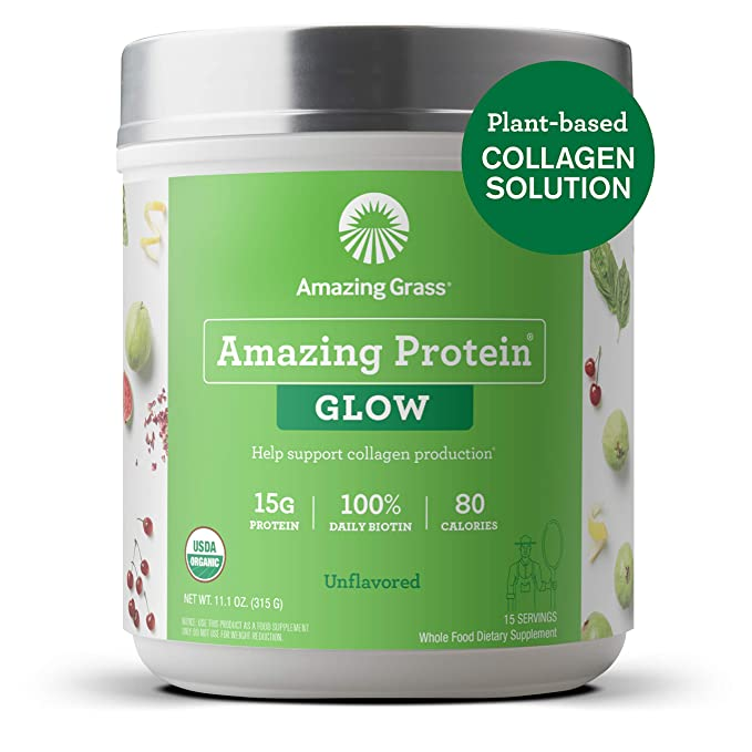 Amazing Grass GLOW Vegan Collagen Support with Biotin and Plant-Based Protein Powder