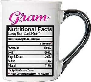 Cottage Creek Coffee Mug, Large Gram Food Label Mug, 18 oz Gram Coffee Cup [White]