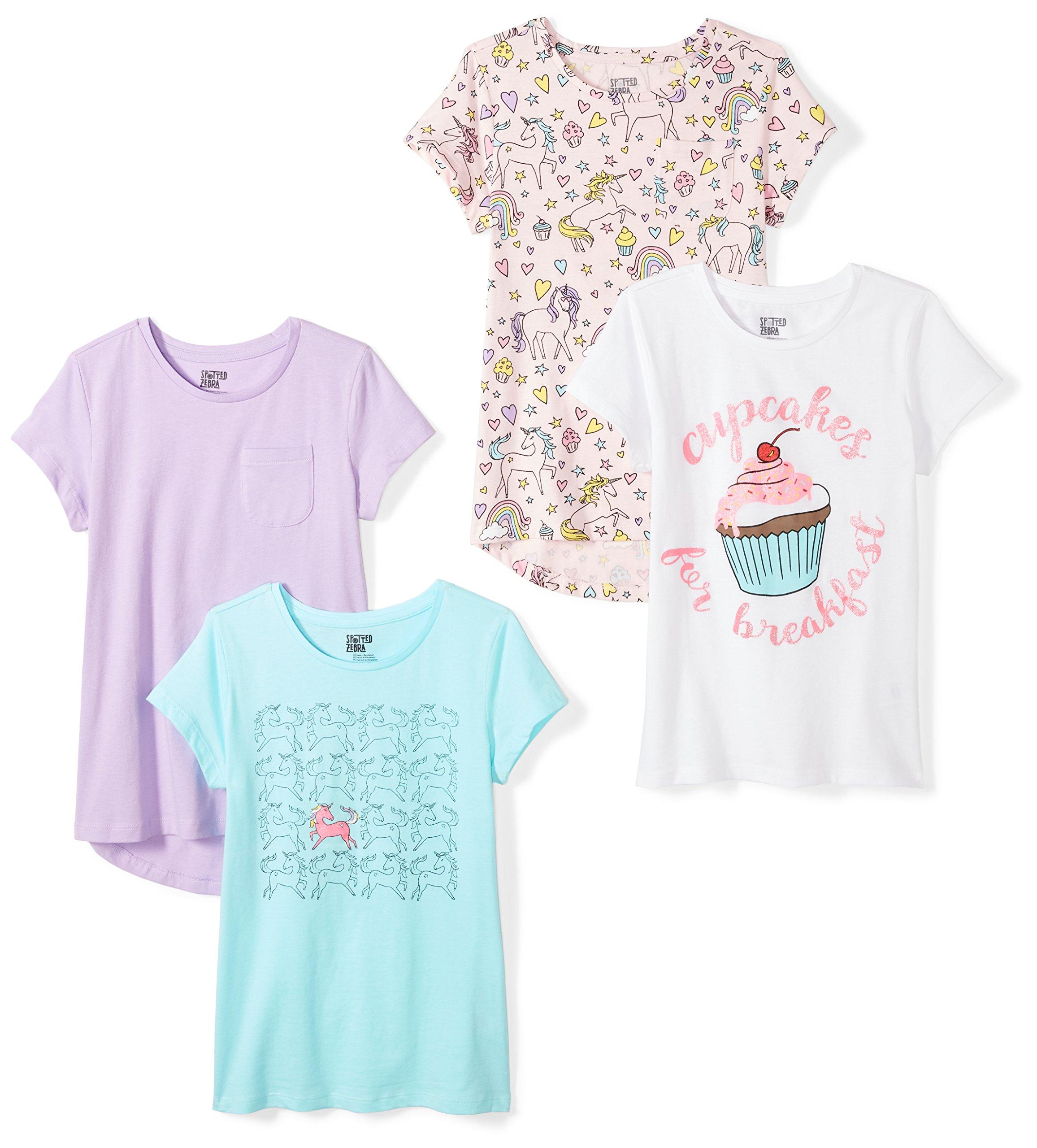 Spotted Zebra Girls' Little 4-Pack Short-Sleeve T-Shirts, Unicorn, Small (6-7)