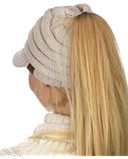 0e907b29227472 C.C BeanieTail Soft Stretch Cable Knit Messy High Bun Ponytail ...