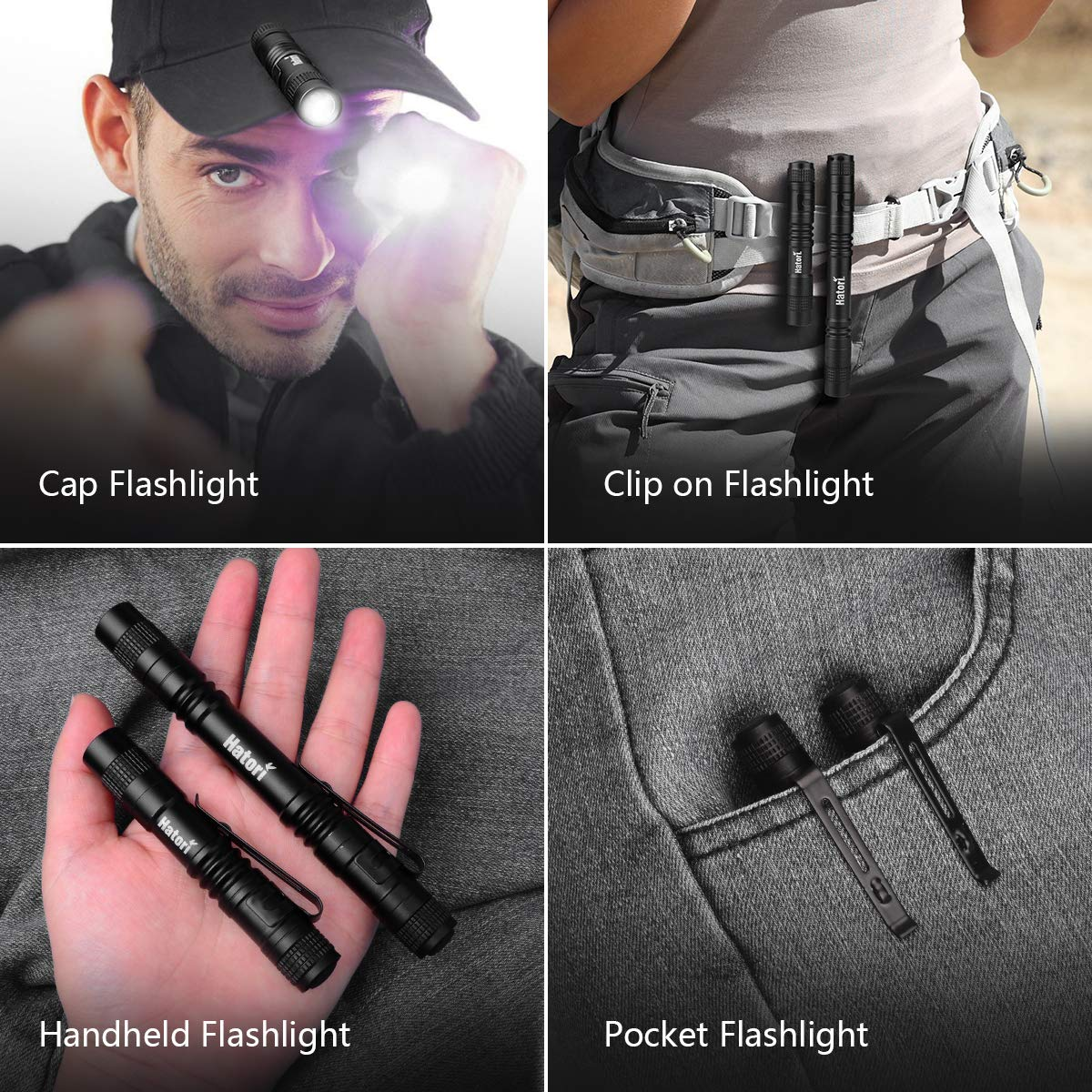 Flashlight LED Light Mini Tactical Hatori Super Small AAA Lamp Belt Clip Pen New