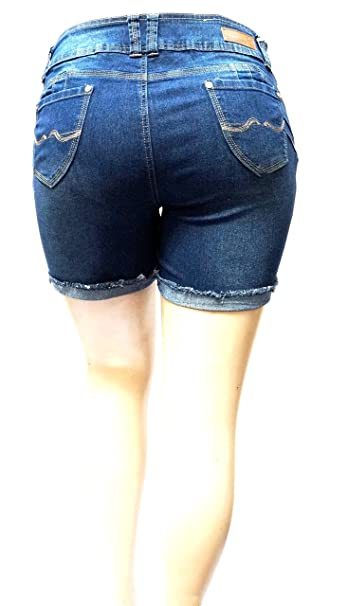 71aeae0e88c David J Womens Plus Size Short Stretch Distressed Ripped Blue Denim Jeans  Shorts (14