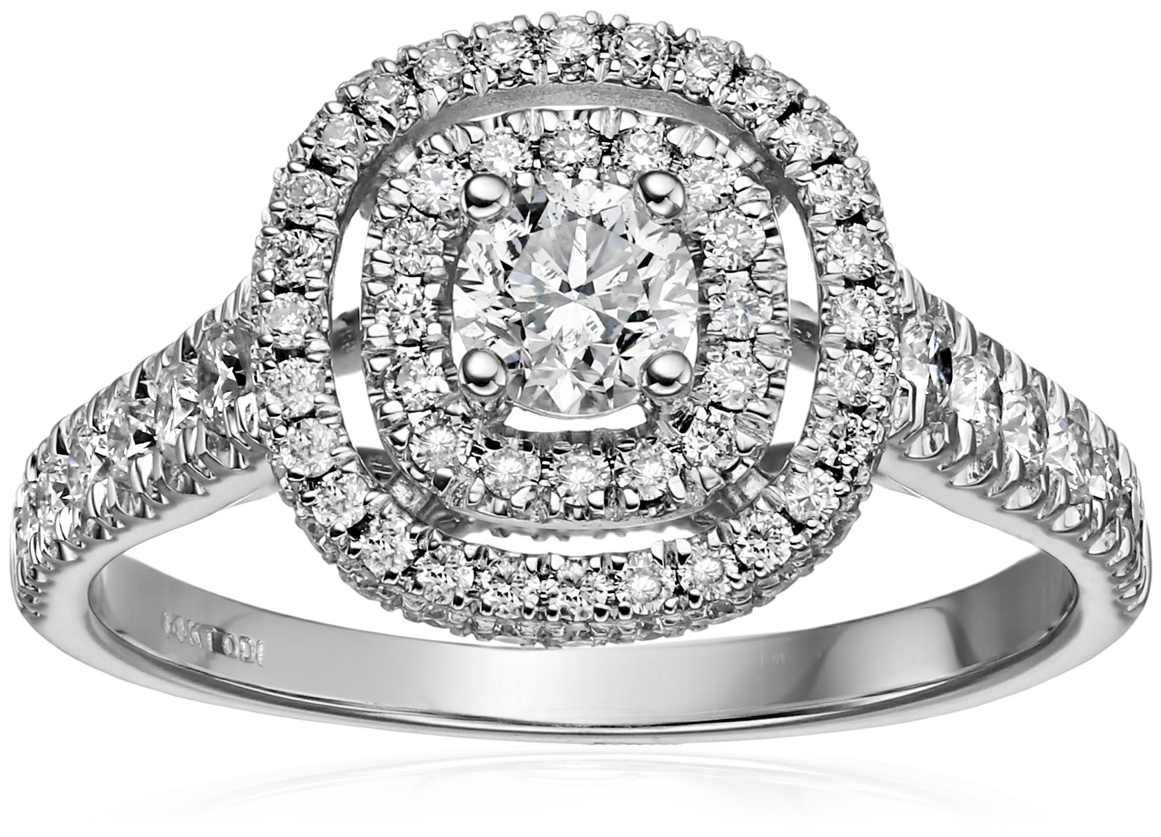 IGI Certified 14k White Gold Diamond Double Halo Engagement Ring (1 1/4 cttw, H-I Color, I1-I2 Clarity), Size 7