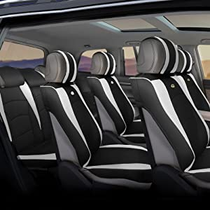 FH Group PU205217 Ultra Comfort Leatherette Three-Row Seat Cushions (Split Ready) White/Black Color w. Black Rubber Floor Mats- Fit Most Car, Truck, SUV, or Van