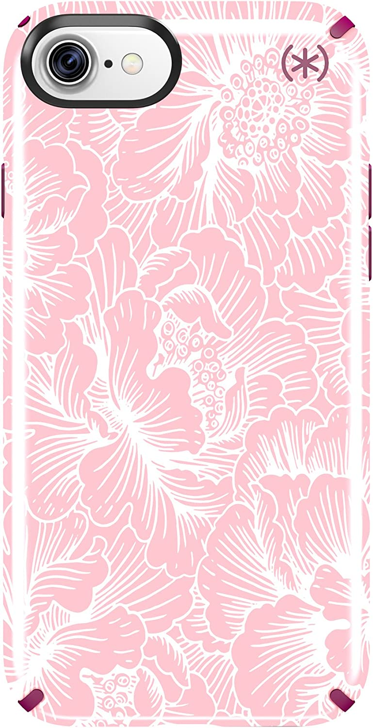 Speck 79990-5945 Presidio Inked Cell Phone Case for iPhone 7 - Fresh Floral Rose/Magenta Pink