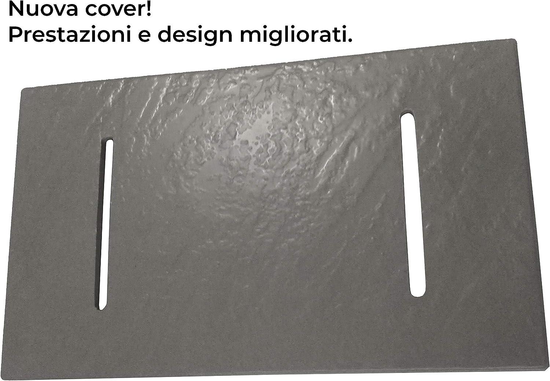 Receveur de douche en verre-r/ésine smc imprim/é thermoform/é H.2.6 cm effet pierre drain inclus Bac /à Douche 80x140x2,6 cm Noir Anthracite
