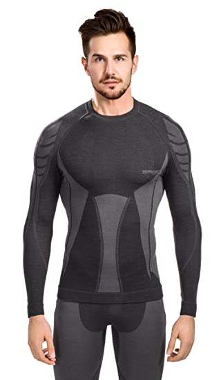 SPAIO ® Merino Camiseta de Hombre de Mangas largas, Negro/Gris, XXL: Amazon.es: Deportes y aire libre