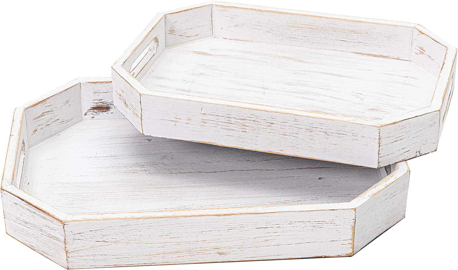 2PCS Whitewash Wood Serving Trays for Coffee Table Ottoman Living Room, Rustic Breakfast Trays for Food Eating with Handles