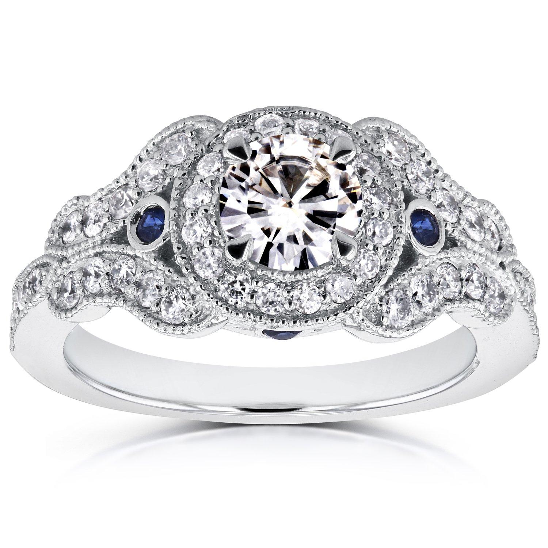 Antique Milgrain Diamond and Sapphire Engagement Ring 1 CTW in 14k White Gold