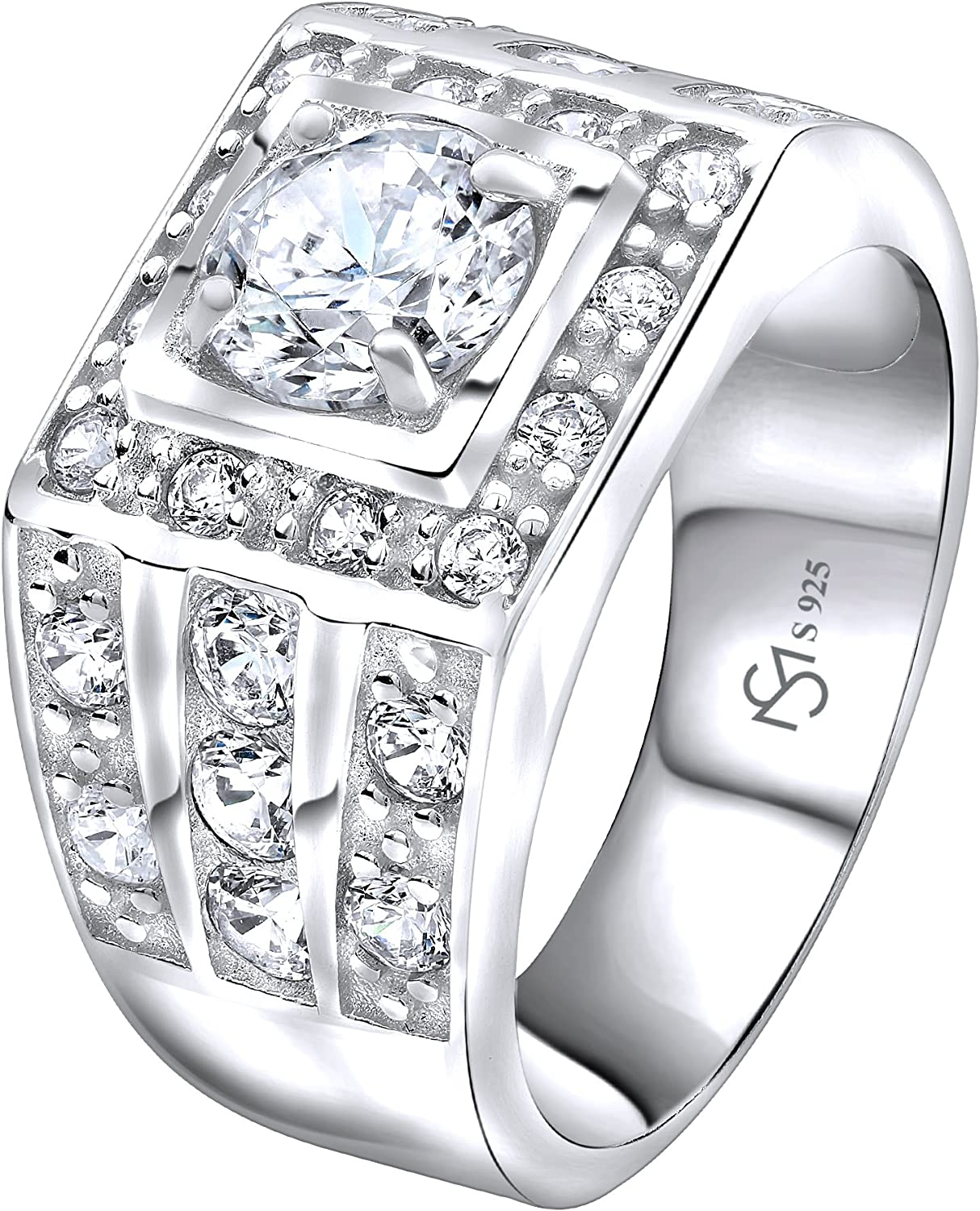[2-5 Days Delivery] Men's Sterling Silver .925 Ring with White Round Cubic Zirconia Center Stone Surrounded by White Cubic Zirconia (CZ) Stones