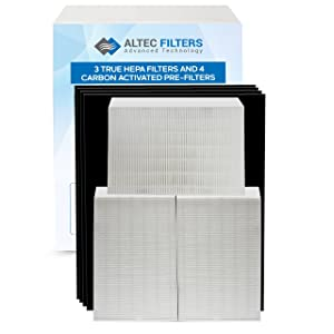 Altec Filters True HEPA Premium Quality Replacement Filters Compatible for HPA300 Air Purifier, 3 True HEPA Filters Plus 4 Activated Carbon Prefilters HRF-R3 HRF-AP1 Filter R