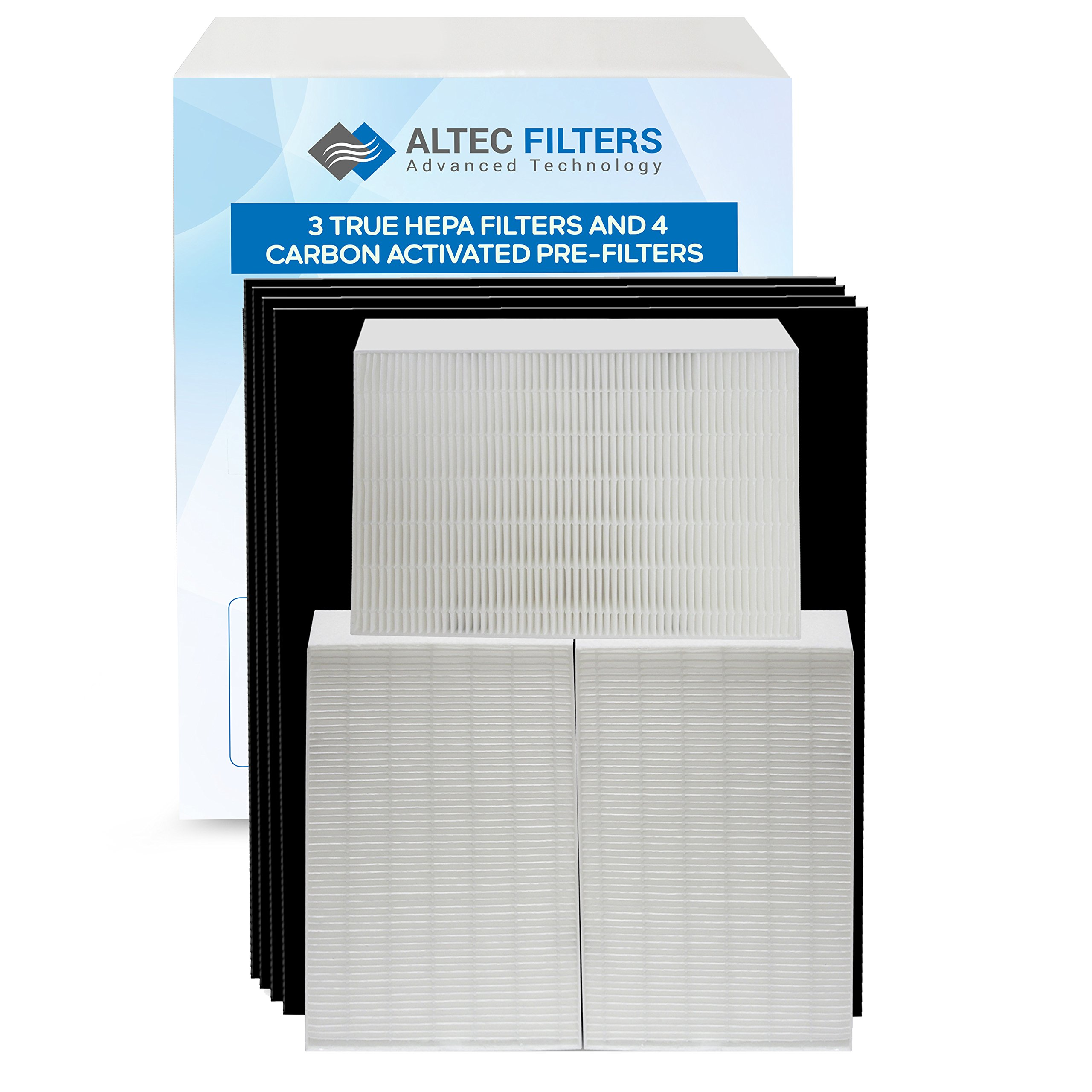 Altec Filters True HEPA Premium Quality Replacement Filters for Honeywell HPA300 Air Purifier, 3 True HEPA Filters Plus 4 Activated Carbon Prefilters HW HRF-R3 HRF-AP1 Filter R
