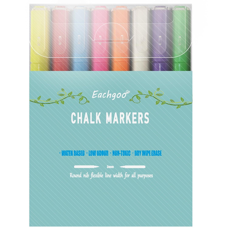 Eachgoo Marqueurs Craie 3mm Pointe Fine Lot de 8 couleur Effacable Feutre Craie