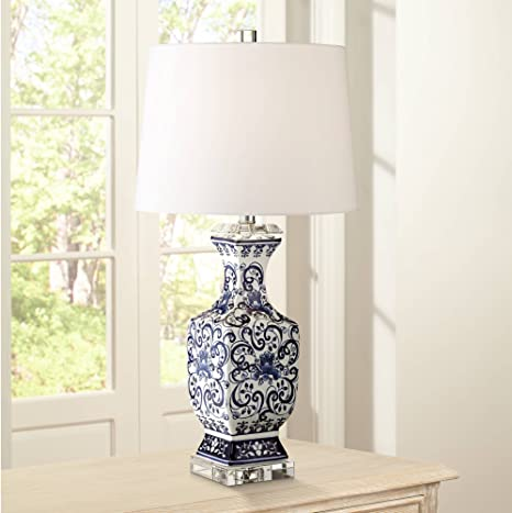 Iris Asian Table Lamp Porcelain Blue Floral Jar Geneva White Drum Shade For Living Room Family Bedroom Nightstand Barnes And Ivy Amazon Com,Baby Shower Flower Arrangements