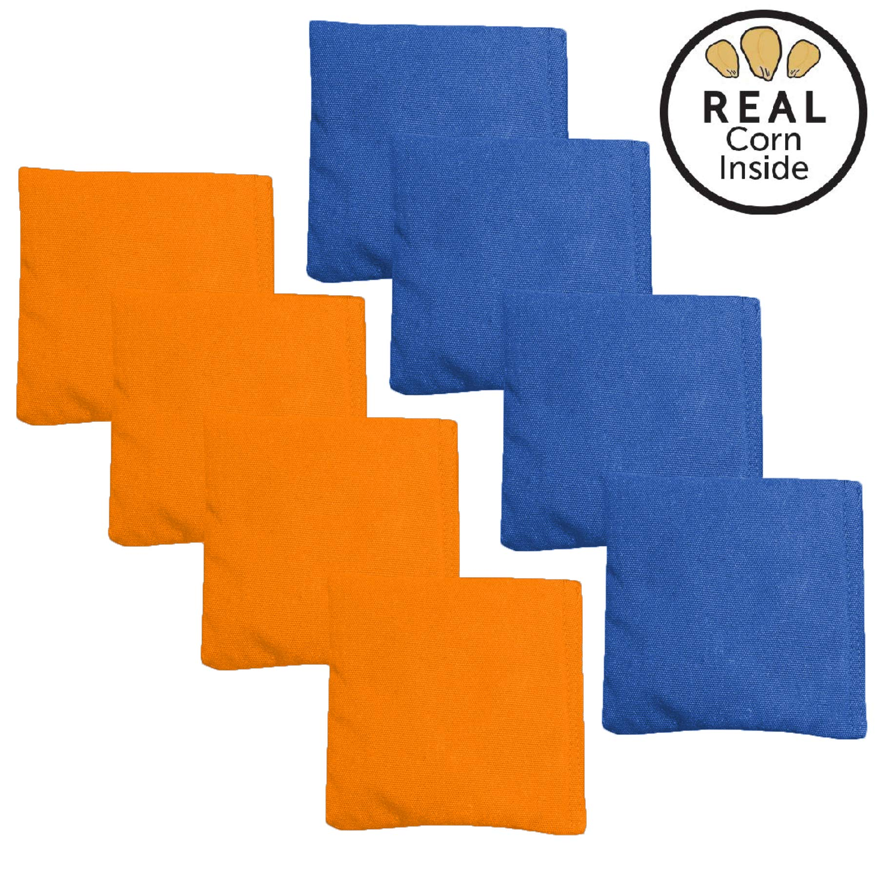 Corn Filled Cornhole Bags - Set of 8 Bean Bags for Corn Hole Game - Regulation Size & Weight - Orange & Blue by Play Platoon