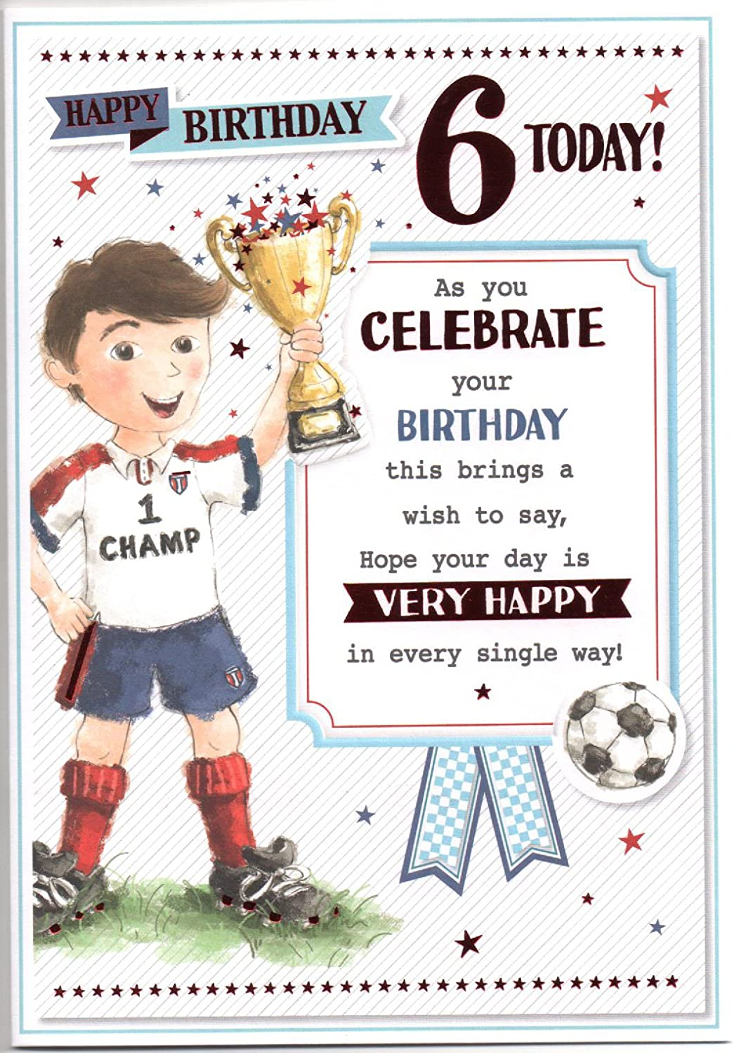 Birthday Card For Six 6 Year Old Boy