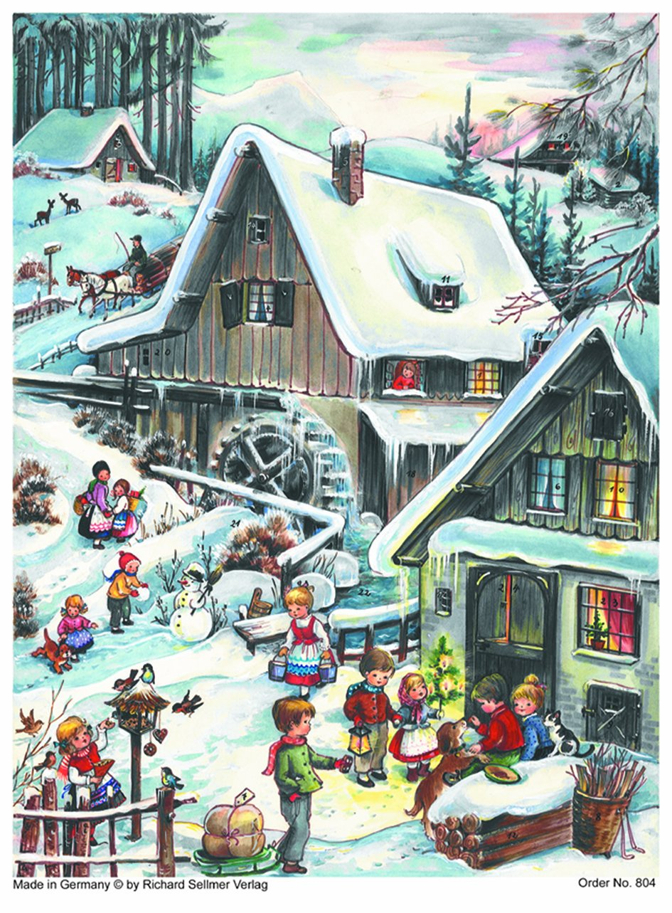 Advent Calendar 24 doors 297 x 210 mm - Snow Scene Traditional Village - with glitter and translucent windows - RS804 - traditional antique German Design Richard Sellmer Verlag RS 804