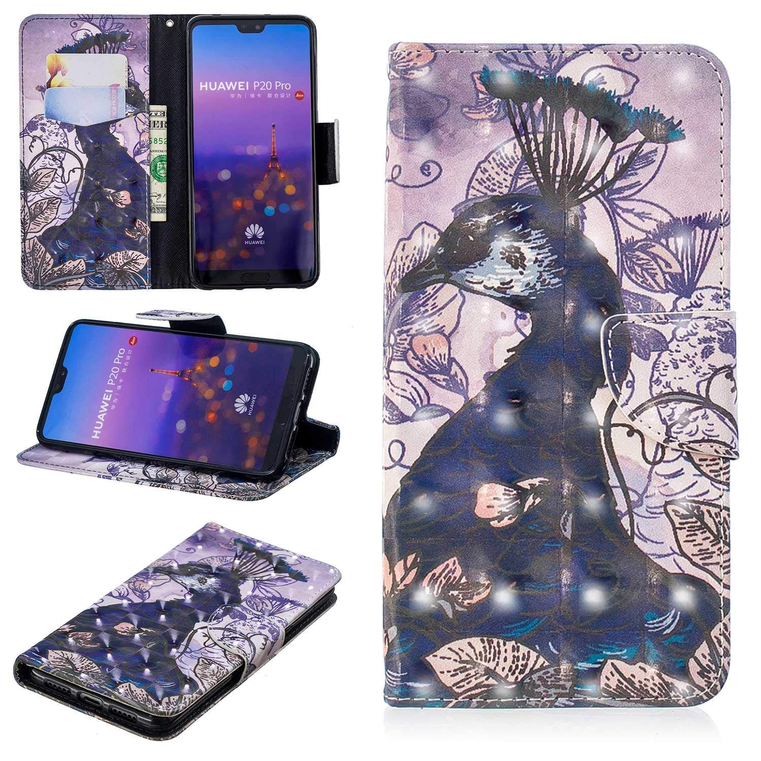 CUSKING Huawei P20 Pro Case, Premium 3D Design Wallet Case Stand Flip Case with Card Holders and Magnetic Closure, Multi-Functional Shockproof Case for Huawei P20 Pro - Peacock