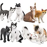 TOYMANY Cat Figurines, 8PCS Different High Realistic Cat Companions Figures Toy Set, Cat Toy Figures Set For Kids Boys Girls Children