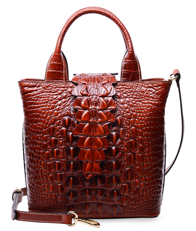 PIFUREN Designer Crocodile Embossed Leather Top Handle Satchel Handbags Office E76061S(Small Size, Brown)