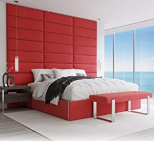 """Vänt Upholstered Wall Panels - King/Cal King Size Wall Mounted Headboards - Micro Suede Red Melon - Pack of 4 Panels (Each Individual Panel 39""""x11.5"""")"""
