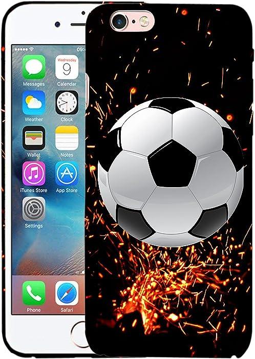 Glisten iPhone 6 Case, iPhone 6S Case - Fire Soccer Design Printed Slim Profile Cute Plastic Hard Snap on Protective Designer Back iPhone 6 Case/iPhone 6S Case