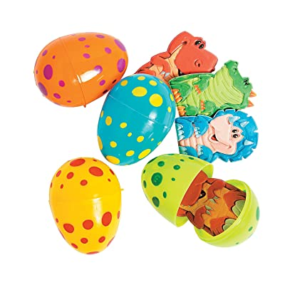 Fun Express - Dino Finger Puppet Filled Easter Eggs for Easter - Party Supplies - Pre - Filled Party Favors - Pre - Filled Plastic Containers - Easter - 12 Pieces: Toys & Games