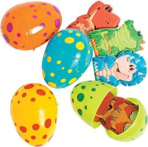 Fun Express - Dino Finger Puppet Filled Easter Eggs for Easter - Party Supplies - Pre - Filled Party Favors - Pre - Filled Plastic Containers - Easter - 12 Pieces