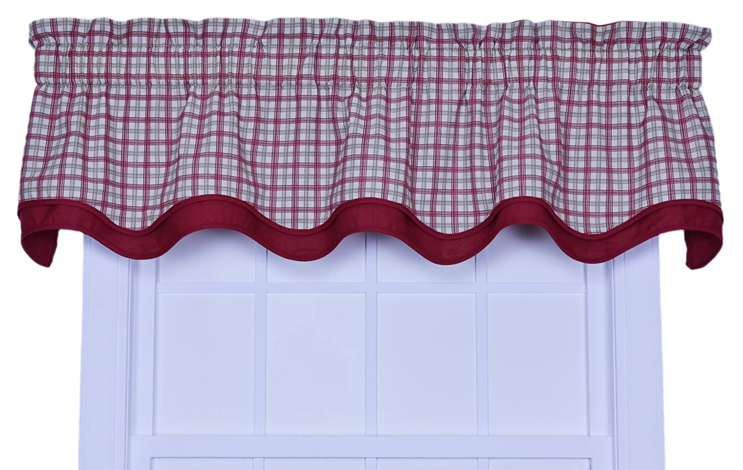 Red gingham curtains - Amazon Com Ellis Curtain Bristol Collection Two Tone Plaid Bradford Valance Window Curtain Blue Home Kitchen
