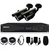 SANSCO 4CH 1080N CCTV DVR Security System with 2x HD Indoor / Outdoor Bullet Cameras (1280x 720p, Night Vision, Waterproof and Vandal-Proof Housing) - Black