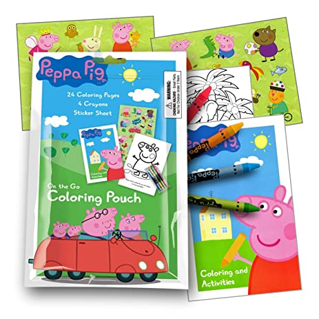 Peppa Pig On The Go Coloring Fun Pack With Stickers Crayons And Activity Book